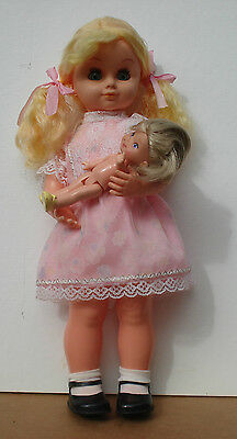 "vtg Hong Kong wind-up Brahms lullaby doll rocks her dollie. 19"" +replaced baby"