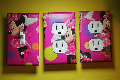 Minnie Mouse 3 pc Set Light Switch Cover girls princess room decor Disney Pink