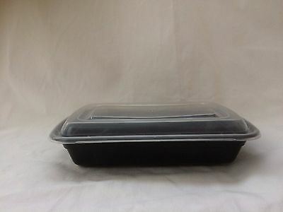 50 pc-set 24 oz. Black Rectangular Microwaveable Food Take-Out Containers w/Lid