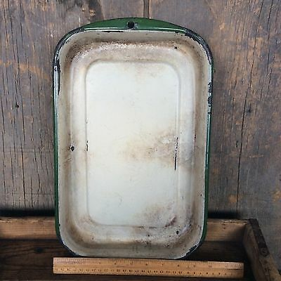 Antique White Green Trim Enamel Porcelain Pan Amazing Patina