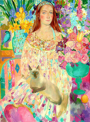 Oil painting young girls & pets cats in spring landscape & flowers free shipping