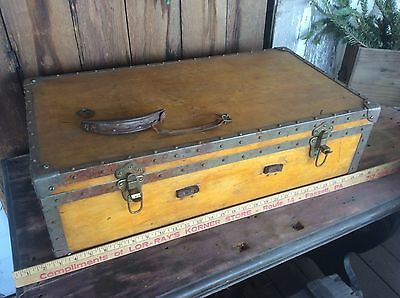 Vintage Wood Trunk / Luggage, Metal Strips , Steampunk , Antique