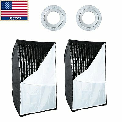 US 2pcs Godox 60cm x 90cm Softbox Bowens Mount Grid Honeycomb f Strobe Flash