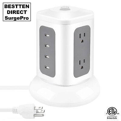 Power Strip Tower Surge Protector Electric Charging Station 6 Outlet with 4 USB