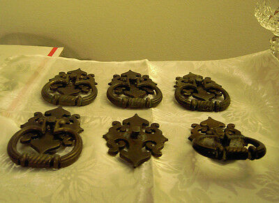 """5 Brass ? Ring Drawer Cabinet Pulls Handles With Backplates 2 1/2"""" Bolt to Bolt"""