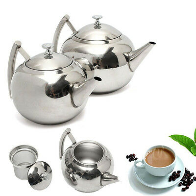 1.5L/2L New Stainless Steel Coffee Teapot with Tea Leaf Mesh Filter Infuser