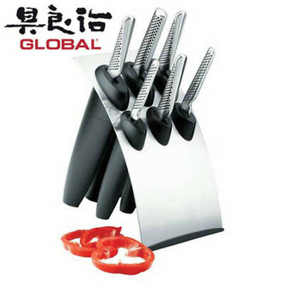 NEW Global Millennium 7 Piece Knife Block Set Japanese Stainless Steel
