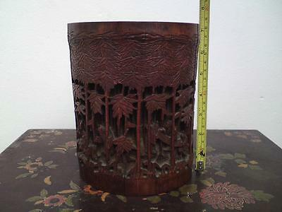 19thC Chinese Qing Dynasty carved ' Seven Sages of the Bamboo Grove ' brush pot