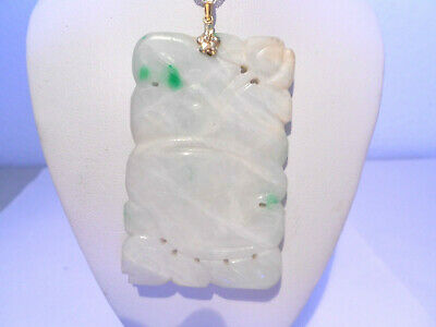 carved antiques white & green jade pendant 14kt gold ( without chain)
