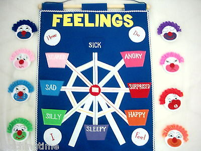 Fabric feelings emotions wall chart teach your child language skills - autism