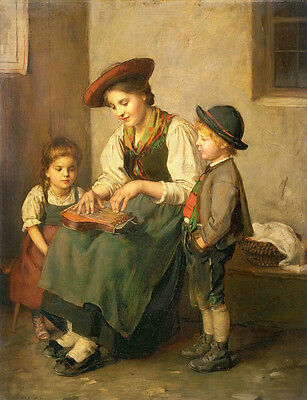 Art oil painting nice young mother with her children playing Mini accordion 36""
