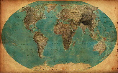 """033 World Map - National Geographic Retro Map of the World 22""""x14"""" Poster"""