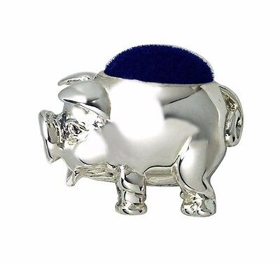 Miniature Collectable Victorian Style Pig Pin Cushion 925 Sterling Silver