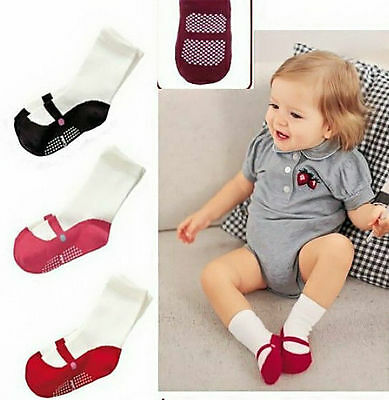 Knee Socks Shoes Boots Anti Slip Clothing Baby Toddler  Girl Cotton 3 Colors