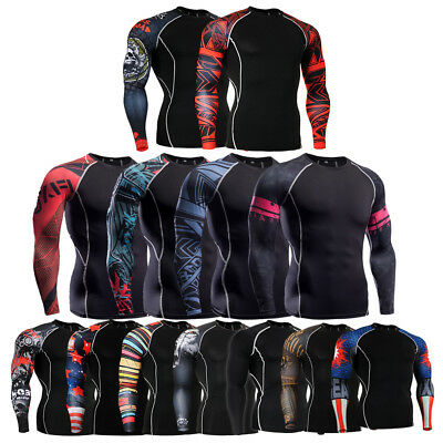 Men Tight Under Base Layer Compression T Shirt Long Sleeve Gym Sport Jersey