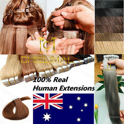 AU stock 20/40pcs Remy Human Hair Extensions Tape in Skin Weft Hair 40cm