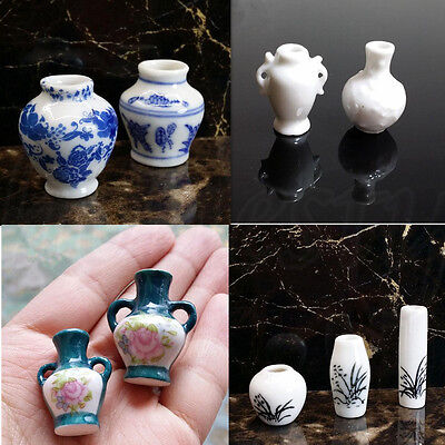 1:12 Dollhouse Mini Chinese Traditional Ceramics Vase Miniature Decor Props Gift