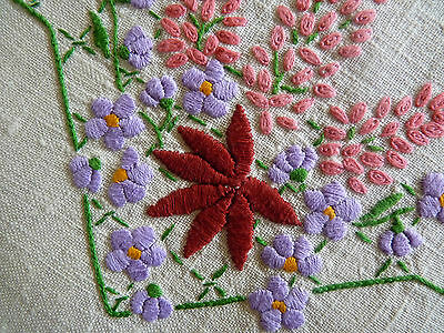 LILAC & MAPLE Large Doily Hand Embroidered Table Centre  VINTAGE