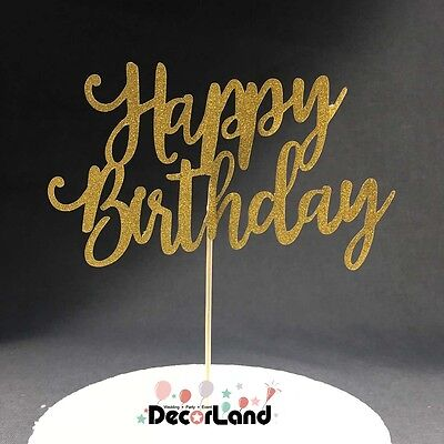 Happy Birthday Glitter Gold Cake Topper for Birthday Party