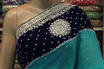 Indian Ethnic Designer Hand Crafted Velvet Pallu Saree Sari Bridal Party Dress