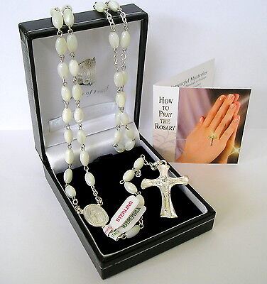Quality Sterling Silver Mother of Pearl Rosary Beads Handmade Rosaries