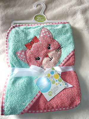LAST ONE NWT Girl Pink Teal Baby Gear 2 pc Kitty Bath Towel Hooded Terry Cloth