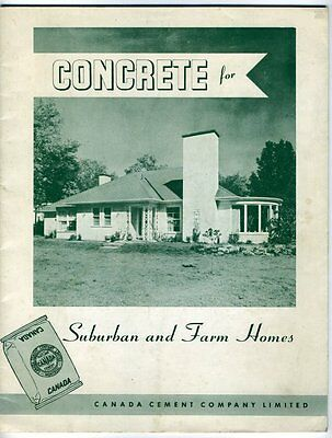 CONCRETE FOR SUBURBAN AND FARM HOMES Canada Cement Company Montreal 1960s GUIDE