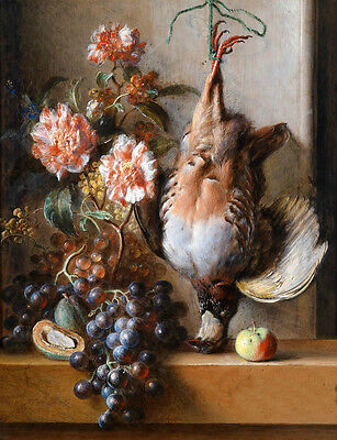 Surprised Oil painting animals death birds with still life fruits grape flowers