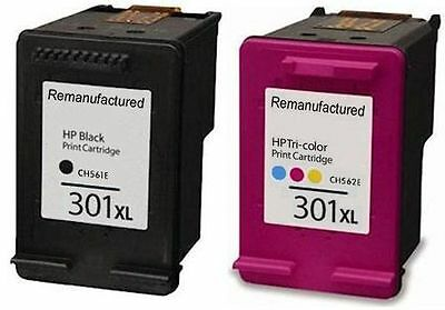 Refilled HP 301XL Black And Colour Ink Cartridges For Envy 5532 e All In One