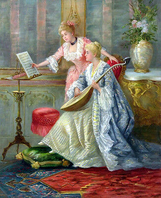 Art Oil painting G.K. Van Antwerp Nice young noble women playing - Music lesson