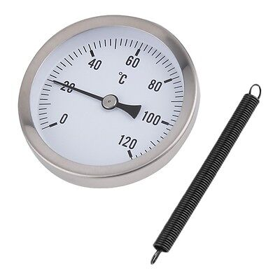63mm Dial Pipe Thermometer Clip-on Temperature Gauge with Spring 0-120¡æ &S