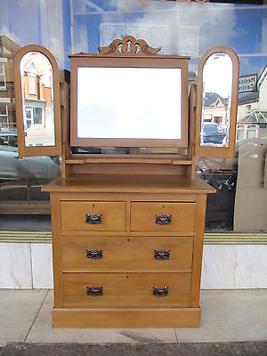 Edwardian Antique Satin Wood Dressing Chest Of Drawers With Three  Mirrors