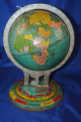 "Vintage 30's Ohio Art Co. 6"" presses steel World globe on Zodiac base"