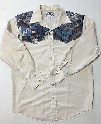 Vtg H Bar C Ranch Wear Western Shirt Southwest Navajo Style 48 Chest 32 Long