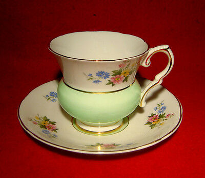 Royal Stafford Cup & Saucer Floral Bouquet In Pale Green Gold Trim
