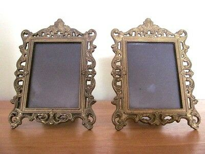 Superb Pair Of Old Ornate Vintage  Brass Photo Frames With Glass.