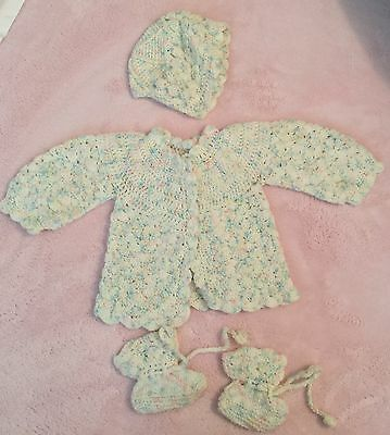 Vintage Crocheted Infant Cap Sweater And Booties 1986 New