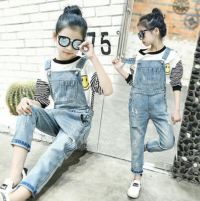 Kids Girls Faded Ripped Dungarees Denim Jeans Child Jumpsuit Pants Overalls Size