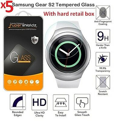 Lot 5x For Samsung Galaxy Gear S2 Watch Premium Tempered Glass Screen Protector.