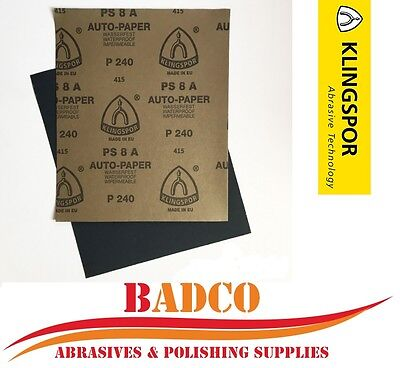 WET and DRY Sandpaper / Paper Sheets - All Grits 60 - 2500 - KLINGSPOR mix