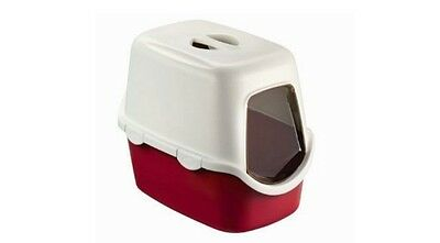 Red Large Cat Litter Tray Hooded Toilet Box with Lid & Filter Inc Flap Door UK