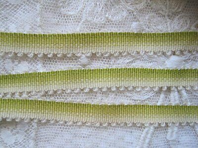 Vintage French Silk & Cotton Victorian Double Picot Ombre Ribbon Trim   1 Yard