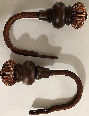 Set Of 2 Drapery Tiebacks Wooden Thread Embroidery Brown
