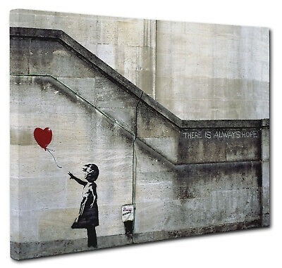 Banksy Girl Red Heart Balloon Art Canvas Wall A2 A1 A0 Large Gift Present OC0149