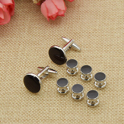 8 Pcs Mens Cufflinks Shirt Studs Set Black Silver Business Wedding Jewelry Gifts