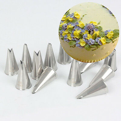 7Pcs Leaf Pattern Icing Piping Nozzles Stainless Baking Cake Decorating Tips