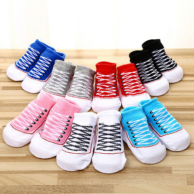 1 Pair Baby Girl Boy Anti-slip Cotton Socks Newborn Slipper Shoes 0-6 Months