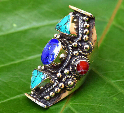 Turquoise Nepali Tibetan Ring Ethnic Saddle Jewelry Hippie Bohemian Gypsy Boho