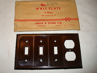 Vintage Smith & Stone Bakelite 4 Gang Brown Ribbed Combination Wall Plate Nos