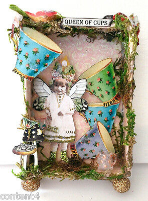 altered art mixed media mini fairy tarot shadow box the queen of cups